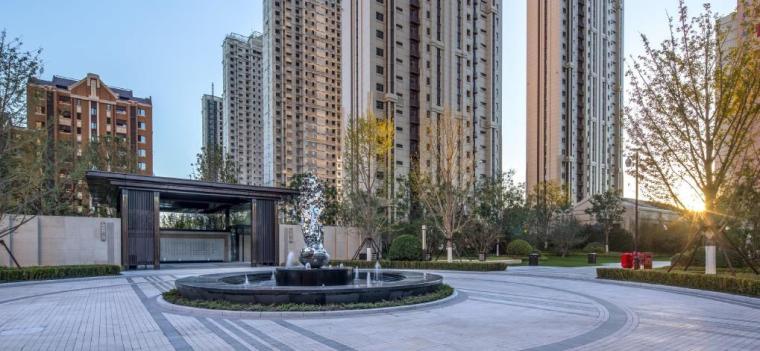 [天津]新中式风格居住区景观设计方案-入口景观效果图