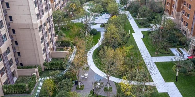 [天津]新中式风格居住区景观设计方案-入户花园效果图