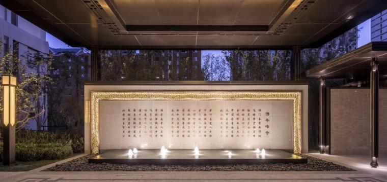 [天津]新中式风格居住区景观设计方案-景墙效果图