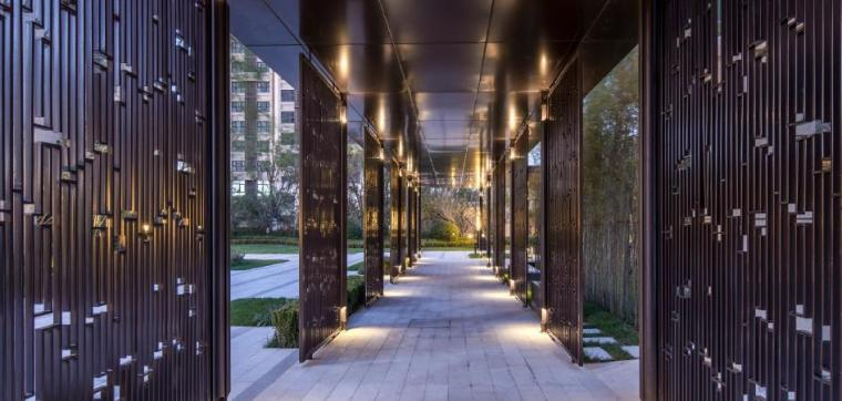 [天津]新中式风格居住区景观设计方案-廊道效果图