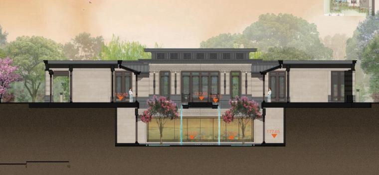 [福建]永安新中式风格居住区景观设计方案-剖面图