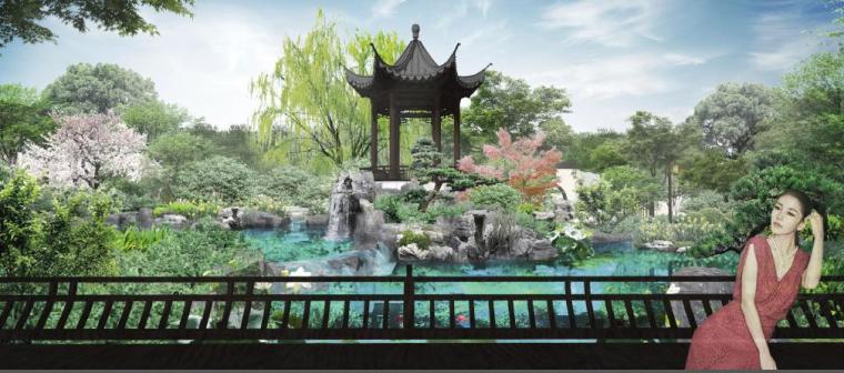 [福建]永安新中式风格居住区景观设计方案-回廊效果图
