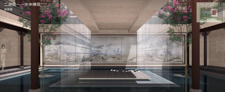 [福建]永安新中式风格居住区景观设计方案-水中禅院效果图