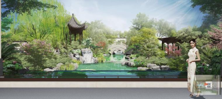 [福建]永安新中式风格居住区景观设计方案-景墙效果图