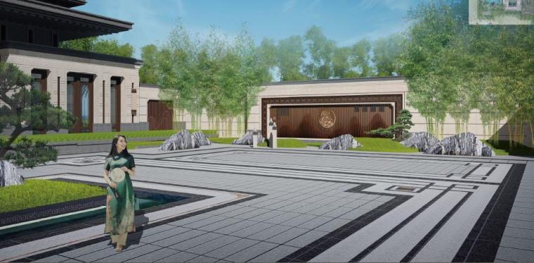 [福建]永安新中式风格居住区景观设计方案-入口景观效果图2