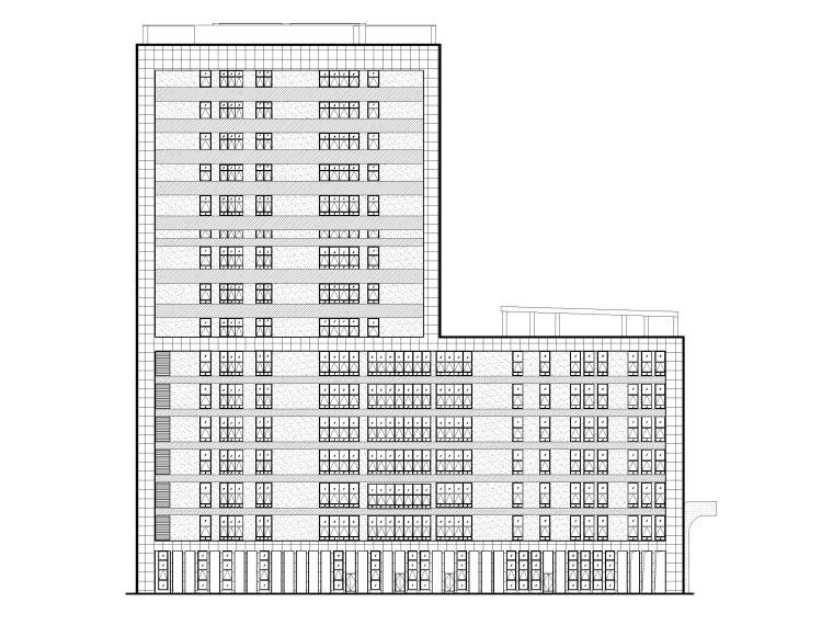 15层医院扩建门诊综合楼建筑施工图2020-立面图1