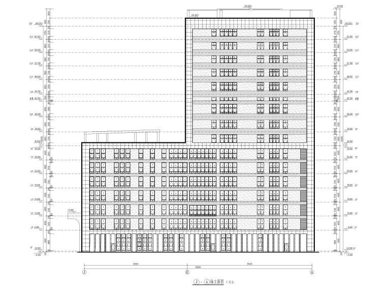 15层医院扩建门诊综合楼建筑施工图2020-立面图2