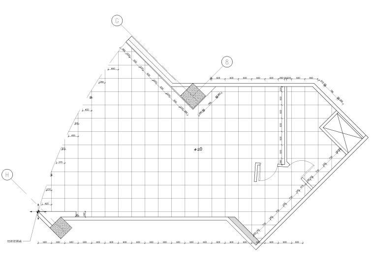 [北京]75㎡快乐柠檬奶茶店室内装修施工图-地面铺装图