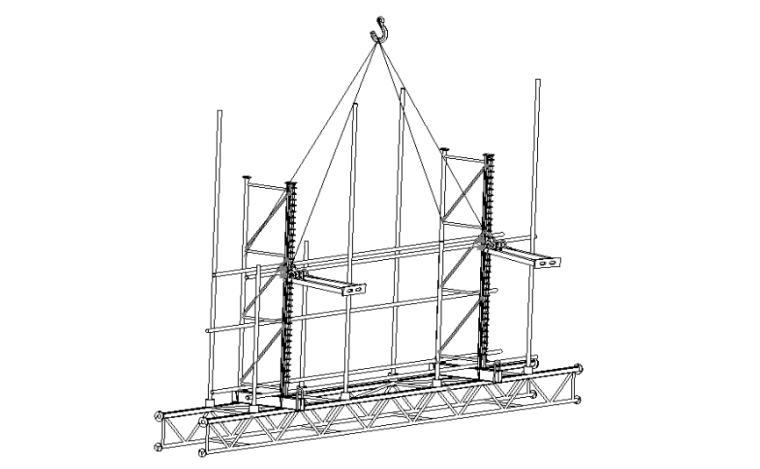 附着升降式脚手架拆除安全专项施工方案-03 双点吊拆示意图