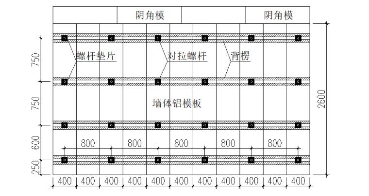 铝合金模板安全专项施工方案-06 墙体立面示意图