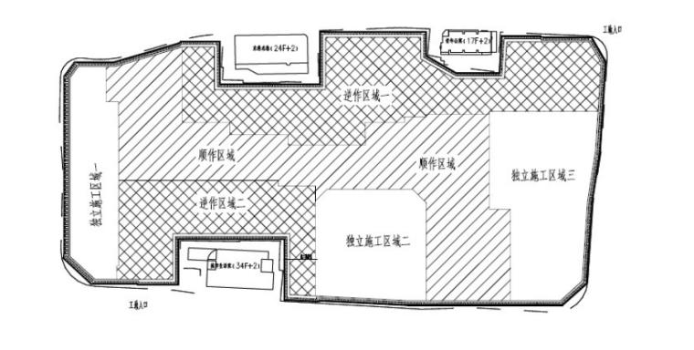 34层综合体建筑逆作法安全专项施工方案-02 平面布置图