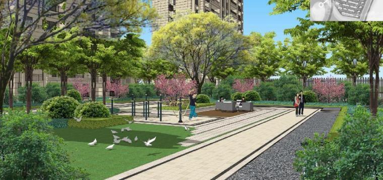 [浙江]慈溪现代风格居住区景观设计方案-健身区效果图