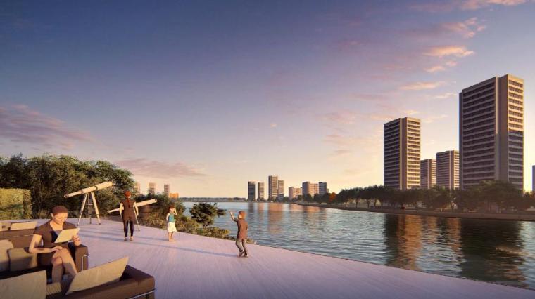 [浙江]慈溪现代风格居住区景观设计方案-滨水景观效果图
