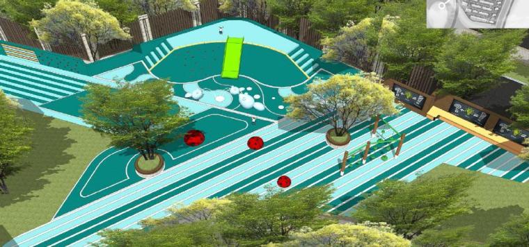 [浙江]慈溪现代风格居住区景观设计方案-儿童乐园效果图