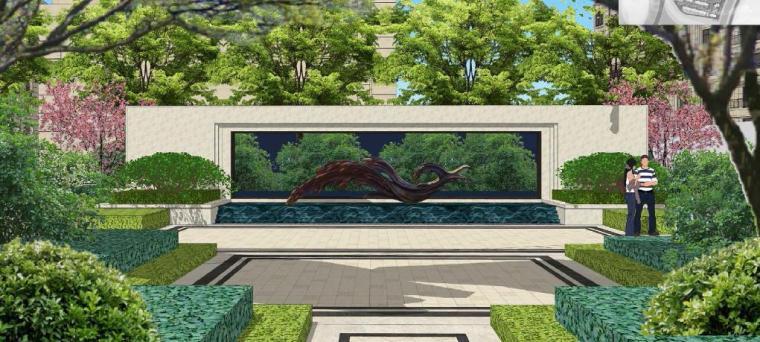 [浙江]慈溪现代风格居住区景观设计方案-景墙效果图