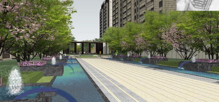 [浙江]慈溪现代风格居住区景观设计方案-水景效果图2