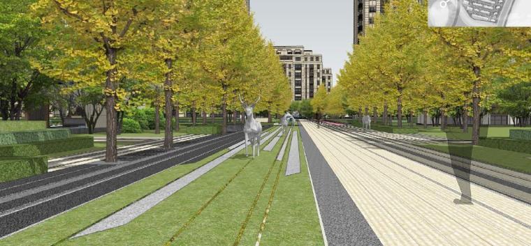 [浙江]慈溪现代风格居住区景观设计方案-人行通道效果图