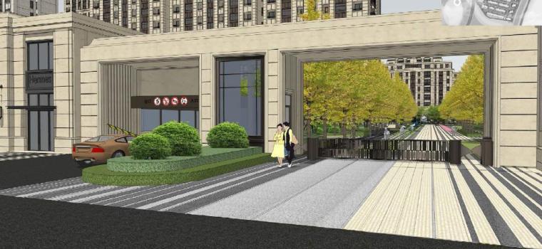 [浙江]慈溪现代风格居住区景观设计方案-入口景观效果图