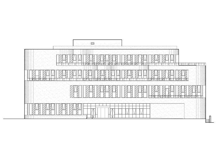 四层框架结构厂房服务办公楼建施图纸-立面图1