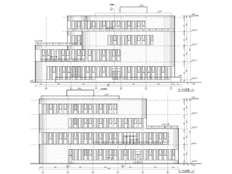 四层框架结构厂房服务办公楼建施图纸-立面图2