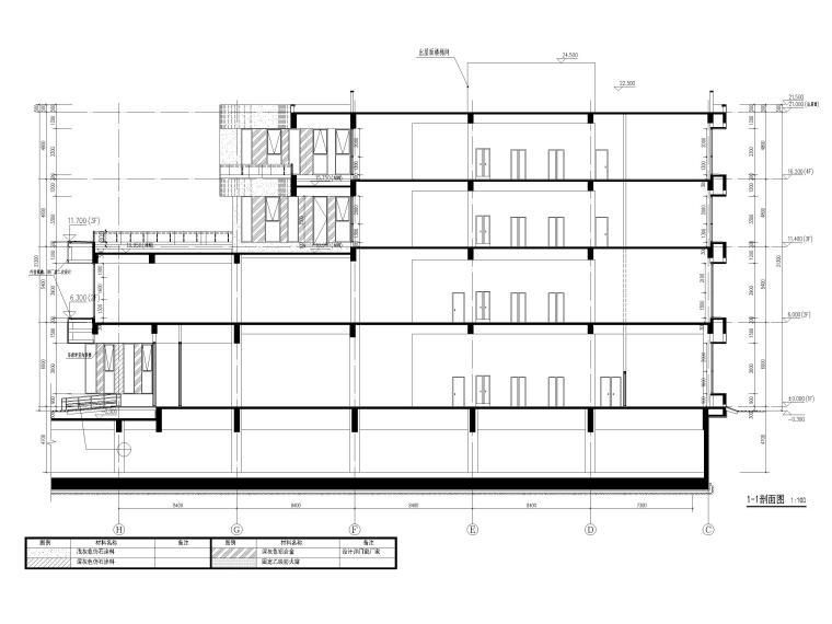 四层框架结构厂房服务办公楼建施图纸-剖面图