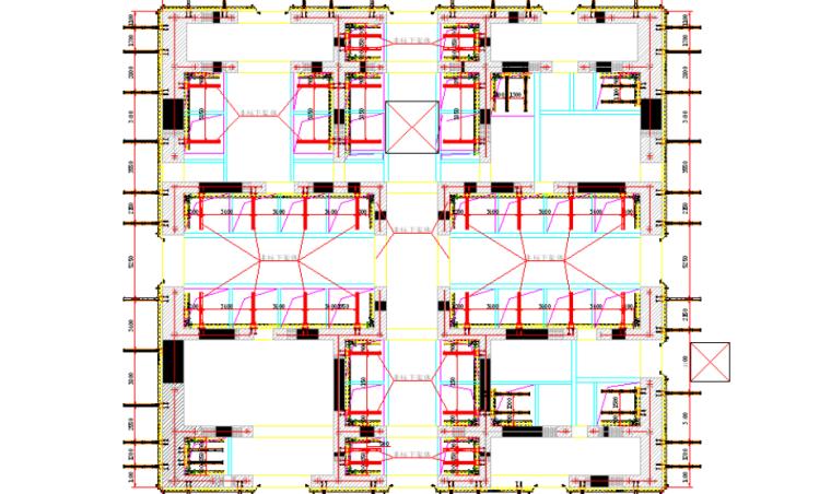 超高层塔楼核心筒液压爬模安全专项施工方案-02 下架体布置图