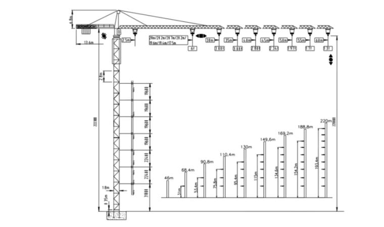塔吊安装工程安全专项施工方案-02 QTZ80(TC6013A-6)塔式起重机技术性能参数表