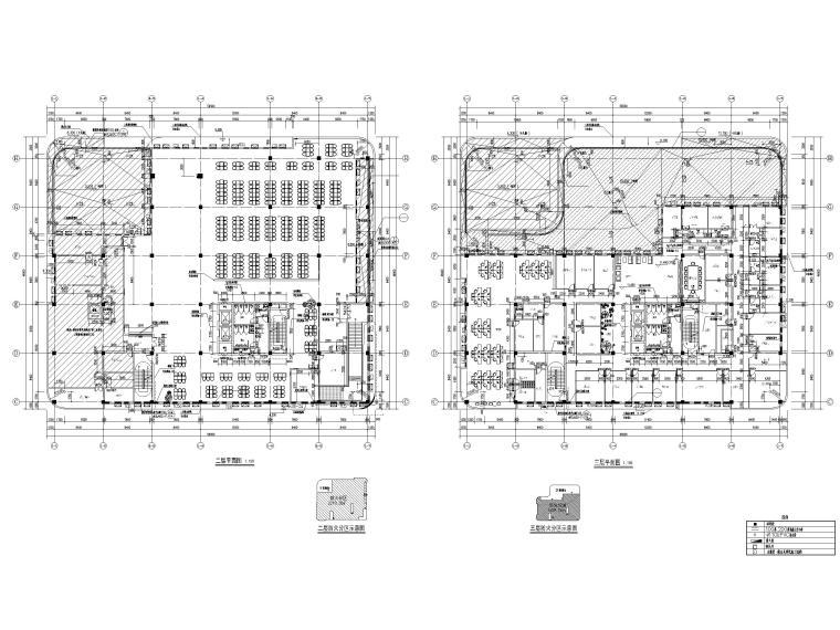 四层框架结构厂房服务办公楼建施图纸-1#楼二层平面图、三层平面图