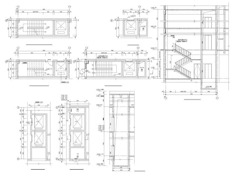 四层框架结构厂房服务办公楼建施图纸-1#楼 楼梯(一)及餐梯详图客梯详图