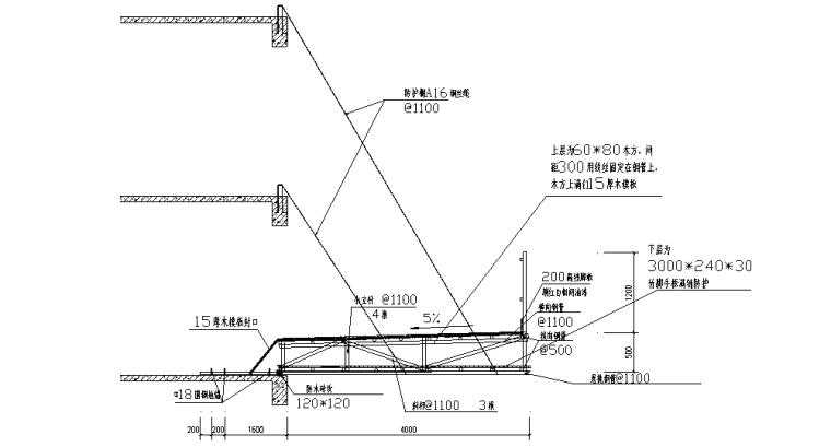 超高层悬挑式水平防护棚安全专项施工方案-02 悬挑防护棚剖面大样图
