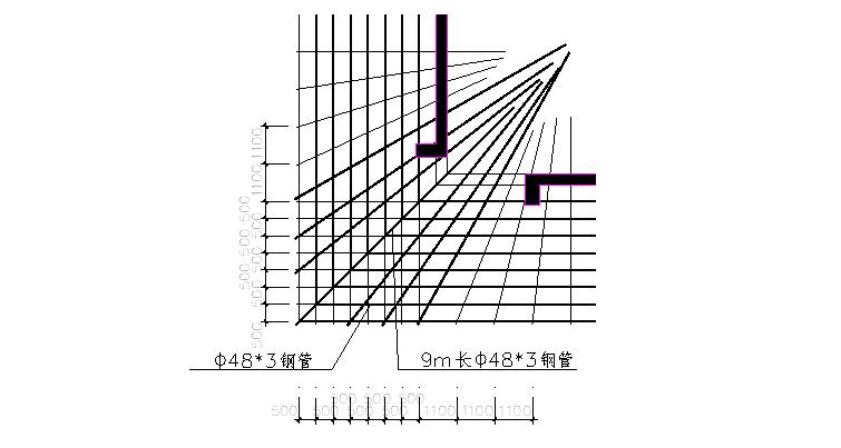 超高层悬挑式水平防护棚安全专项施工方案-03 转角处平面布置图
