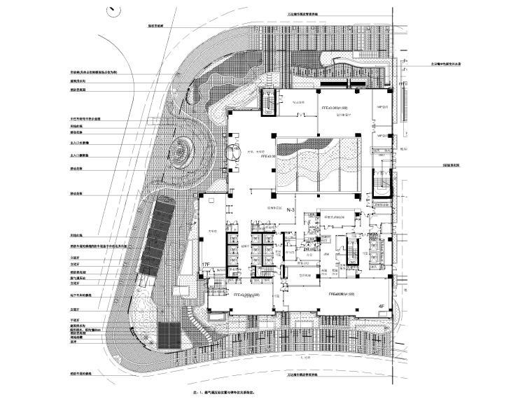 [上海]知名酒店周边环境景观设计CAD施工图-总平面配置图