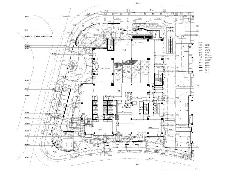 [上海]知名酒店周边环境景观设计CAD施工图-竖向设计总平面图