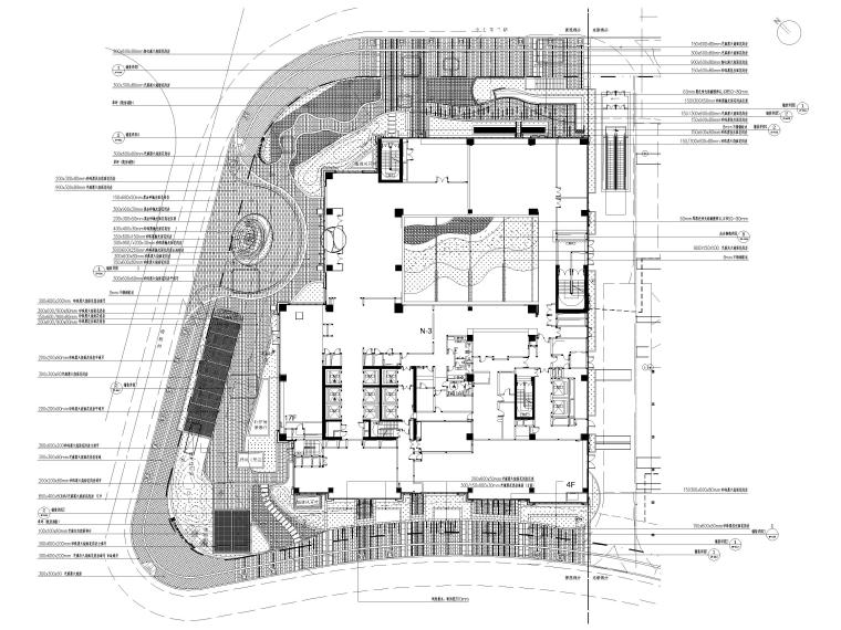 [上海]知名酒店周边环境景观设计CAD施工图-铺装总平面图