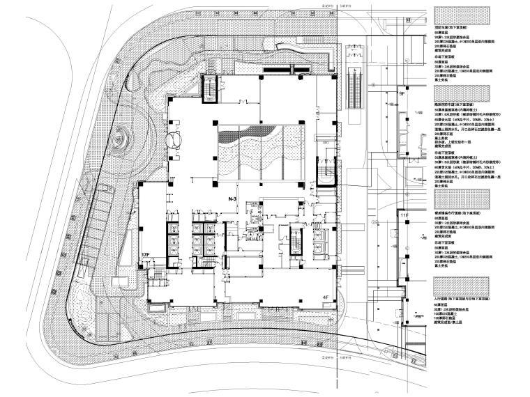 [上海]知名酒店周边环境景观设计CAD施工图-铺装基础配置总平面图