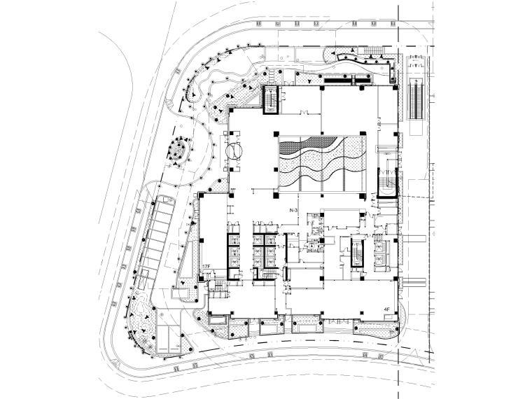 [上海]知名酒店周边环境景观设计CAD施工图-灯具布置总平面图