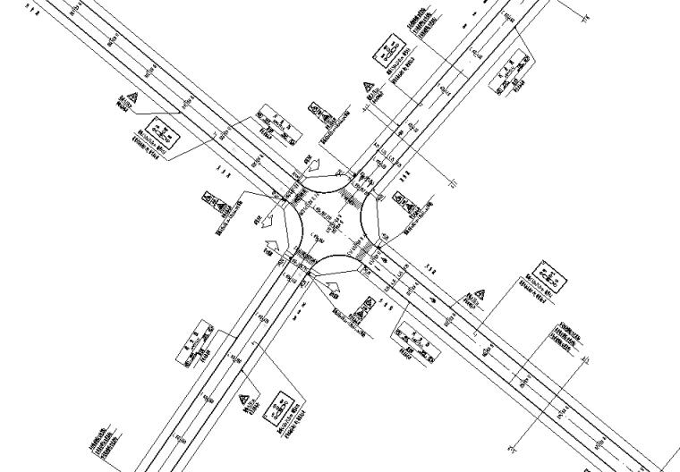 新建道路交通工程图纸_预算表_招标文件2020-交通平面设计图