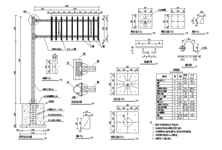 新建道路交通工程图纸_预算表_招标文件2020-悬臂式标志杆结构设计图