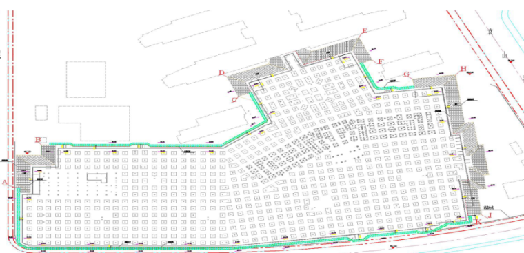 深基坑支护与土方开挖安全专项施工方案-02 现场各支护段平面示意图
