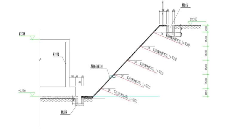 深基坑支护与土方开挖安全专项施工方案-03 1:1.5放坡剖面图