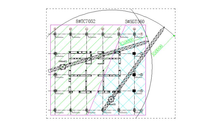 65层塔楼钢结构安装安全专项施工方案-04 塔吊选型及平面布置