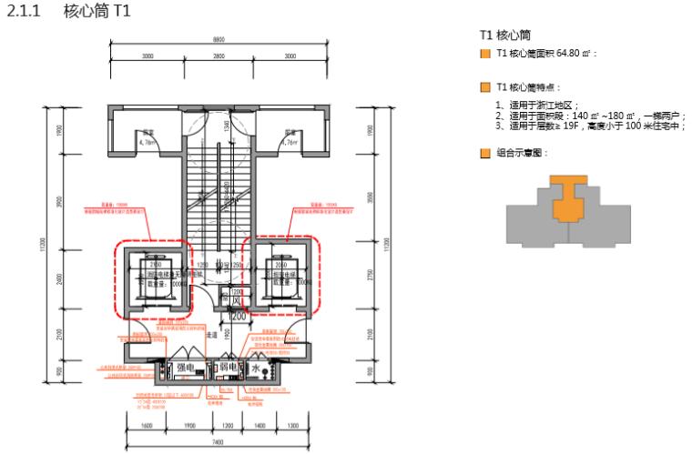 房地产公司住宅标准产品手册(图文丰富)-核心筒
