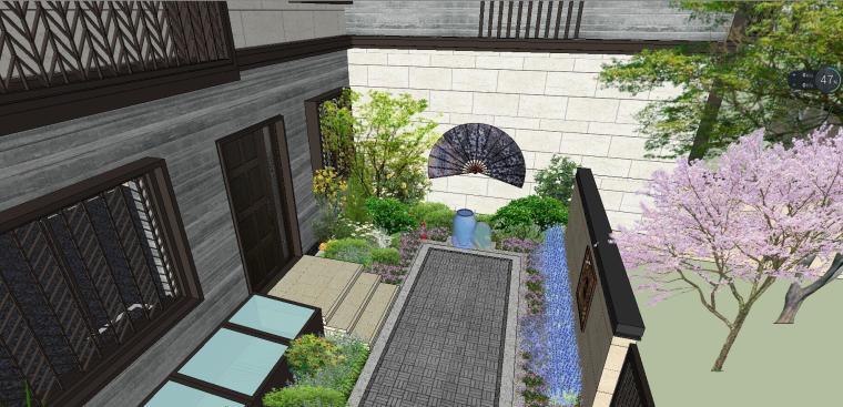 独栋别墅合并黄金麻院墙景观模型设计 (2)