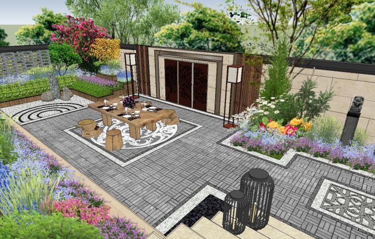 独栋别墅合并黄金麻院墙景观模型设计 (1)