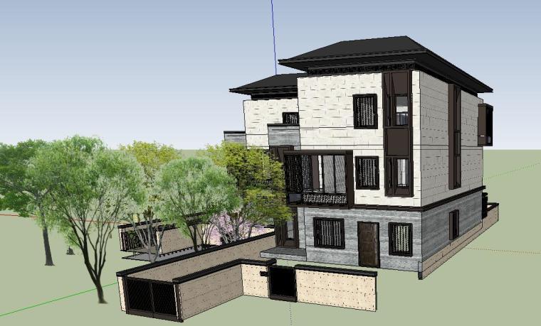 独栋别墅合并黄金麻院墙景观模型设计 (3)