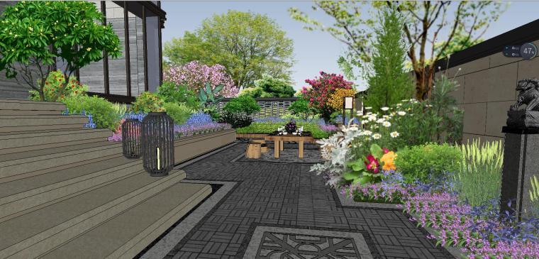 独栋别墅合并黄金麻院墙景观模型设计 (4)