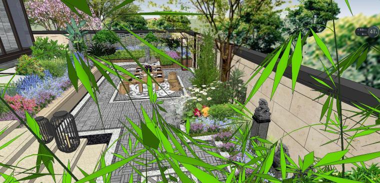 独栋别墅合并黄金麻院墙景观模型设计 (6)
