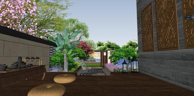 独栋别墅合并黄金麻院墙景观模型设计 (5)
