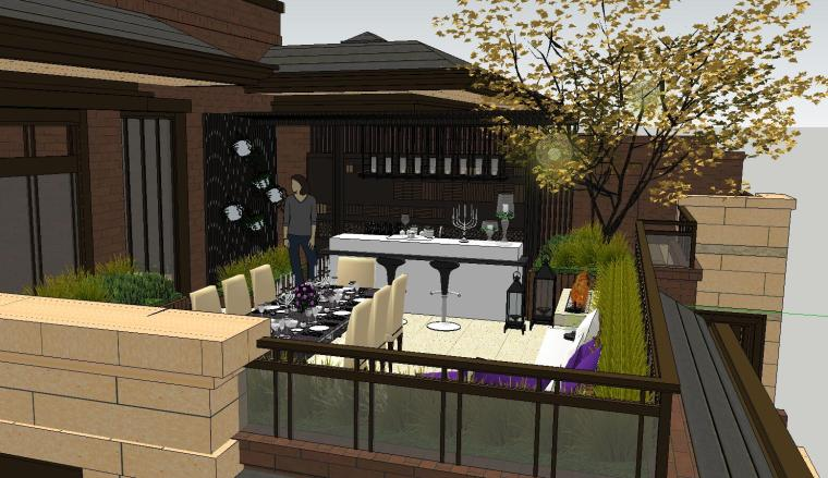 舒适型样板房屋顶景观模型设计 (2)