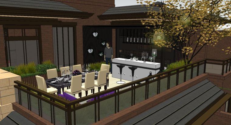 舒适型样板房屋顶景观模型设计 (3)